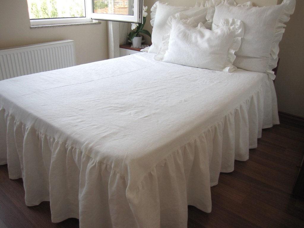 Linen Drop Ruffle Skirted Bedspread Bed Skirt Bed