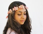 Coral Pink Flower Crown - Floral Crown.  Flower Hair Wreath, Hippie Headband. Flower Headband, Spring Fashion, Boho Chic