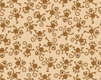 SALE 1 Yard of Zoofari Monkeys in Brown by Doodlebug Design for Riley Blake