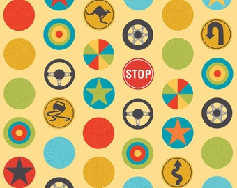 Peak Hour Yellow Stop Signs by Kellie Wulfsohn for Riley Blake