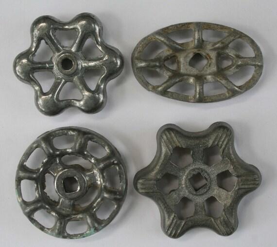 Set of 4 Silver/Grey Vintage Valve  Handles