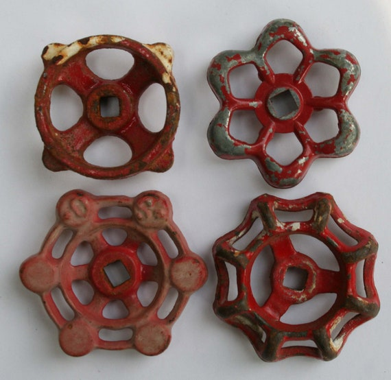 Big Sale -20% Off items-Use Coupon Code-SuperSavings-4 Vintage Faucet Handles-Sweet Red Patina Sampler