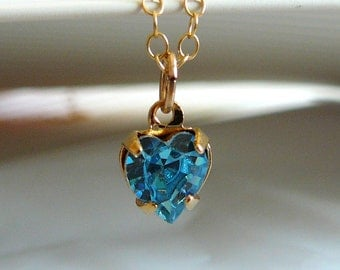 Tiny Aquamarine Swarovski heart pendant with Gold-filled chain - March birthday necklace - Free shipping to Canada & USA