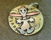 Large Dog ID tag- Happy Dog Personalized Pet tag- the Finn