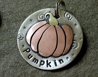 custom dog id tag- fall and halloween themed pumpkin dog tag