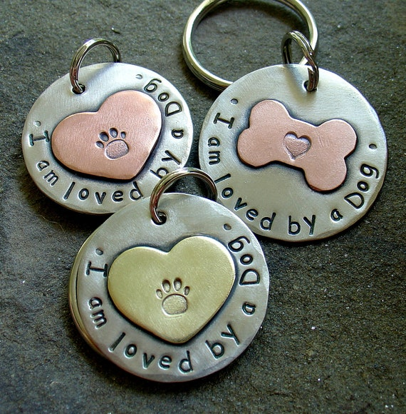 Dog Lover's Key fob in mixed metal- I am loved by a dog