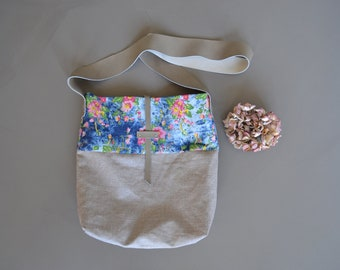 SALE floral cross body bag - bohemian country style bag - cross body messenger - neutral floral bag - gift for her