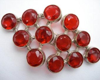 Art Deco Buckle Czech Red Glass 1920's 1930's