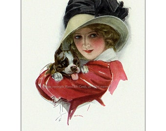 Boston Terrier Magnet - Repro Harrison Fisher Girl w Puppy Dog