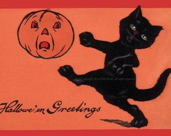 Halloween Cat Card - Cat Kicks Pumpkin Jack O Lantern - Repro Greeting Card