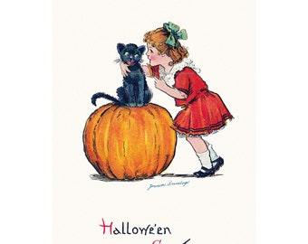 Halloween Card - Girl Whispers to Cat on Pumpkin Greeting Card