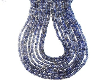 """13"""" line 3mm  IOLITE or water sapphire blue rondelle beads or rondelle beads"""