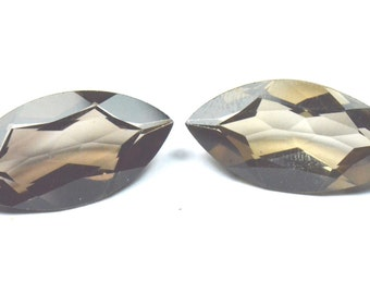 30mm marquise pair SMOKEY QUARTZ  gems 30 by 15 by 8.5mm 41.75cts
