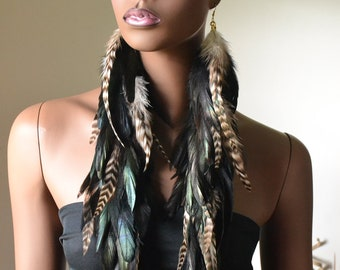 Very Long Grizzly and Black Feather Earrings