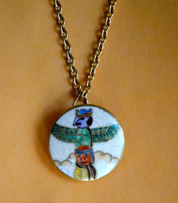 Round Native Pendant, Enamel, Gold Tone, Chain Link Necklace, Clearance Sale