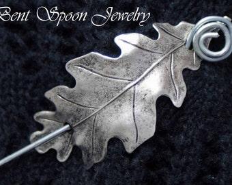 Shawl Pin, Silver Oak  Leaf  Shawl Pin, Scarf Pin, Shrug Closure, Bent Spoon Jewelry