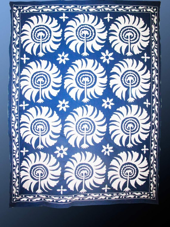 uzbek  hand embroidered suzani samarkand with mystical astral flowers  patern bedspread or   home wall decor bed cover