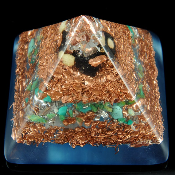 Orgonite Style Crystal Peaked Pyramid with Tourmaline, Turquoise, Selenite, Rhodizite & Copper Nuggets. Orgone Positive Energy Generator