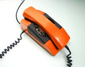 Vintage Orange Rotary Phone 80s Dial Telephone