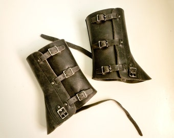 Black Leather Army Spats Gaiters Steampunk Motorcycle 70s