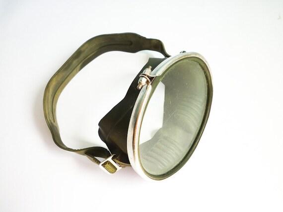 Vintage Scuba Pro Diving Mask Green Rubber