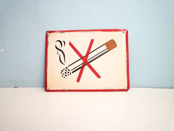 No smoking vintage metal sign deadstock factory