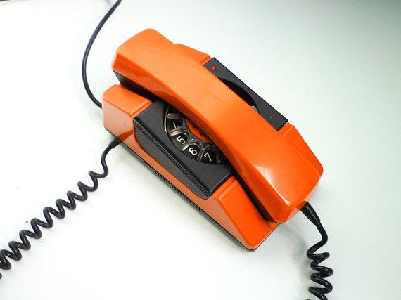 Vintage Orange Rotary Phone 80s Dial Telephone