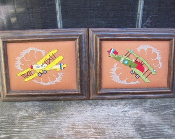 Vacation Sale Shipping Resumes 8/8 Framed Vintage Needlepoint Old Timey Airplanes