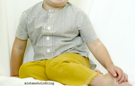 Boys dress shirt toddler shirt henley shirt sizes 18 2t 3t 4t 5t made to order black cream striped