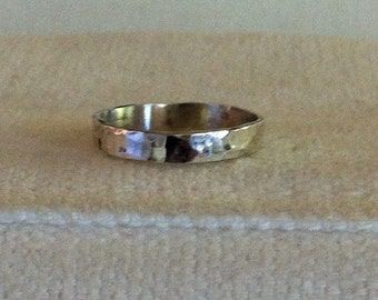 Sterling Silver Hammered Ring Band.  Stackable. Fun. Flirty. Eco Friendly Reclaimed Metal from USA.