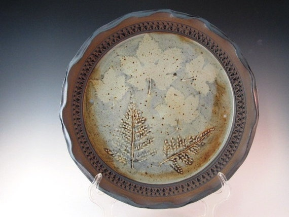 Beautiful Platter With Grape Leave And Carved In Ferns With Texturing On Inside Rim