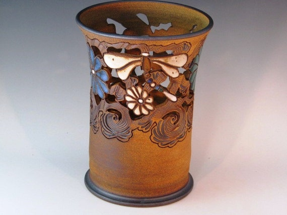 Large Vase With Dragonflies, Flowers, And Swirl Design Carved