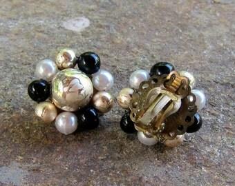 Mad Men Vintage Brown Gold Clip Earrings Beautiful