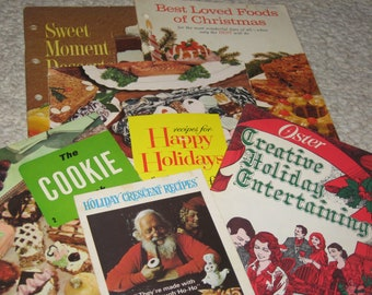 6 Assorted Vintage Holiday Recipes and or Cookbooks Pamphlets