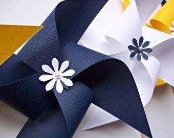 Nautical Wedding Paper Pinwheels. Navy Blue, Yellow, White (set of 6) Indigo Sunny Sailing