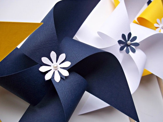 Nautical Wedding Paper Pinwheels. Navy Blue, Yellow, White (set of 6) Indigo Sunny Sailing