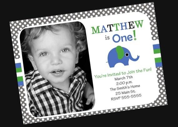 Boys 1st Birthday Invitation with Photo Elephant