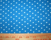 Small White Polka Dot on Blue Cotton Jersey Knit FAbric
