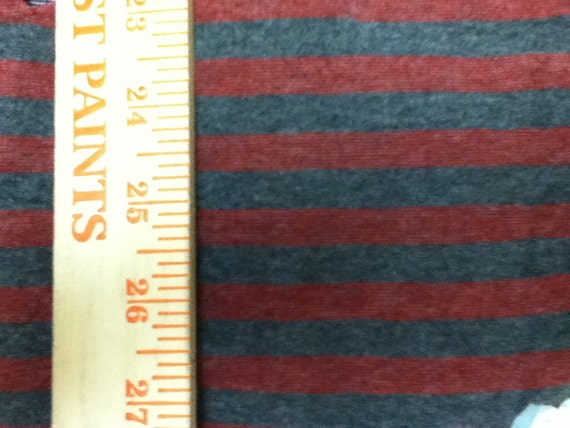 Pretty Red and Dark Heathered Characoal Grey Wool Lycra Jersey Knit Stripe