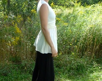 Organic Clothing - Wrap Tunic with Cap Sleeves - Organic Cotton - Shown in Natural - Made to Order