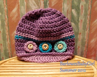 """New - Buggs - Crochet Baby Hat """"Zany Circles"""" in Orchard Plum, Lilac, and Turquoise"""