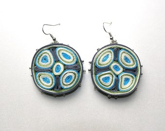Dangle arrings blue, textile earrings round - Textile jewelry OOAK ready to ship