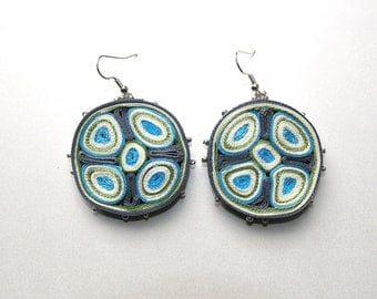 Dangle earrings turquoise, fabric earrings blue, textile earrings round, fiber earrings, gift for woman - Textile jewelry ready to ship