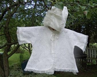 Vintage Baby Girl White Christening Jacket and Bonnett