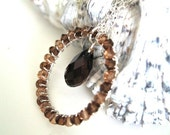 Sterling Silver Chocolate Brown Necklace Swarovski Crystals for Fall Fashion, Wire Wrapped Infinity Circle