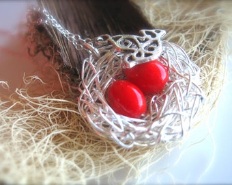 Family necklace, mom of twins / 2 girls red eggs silver bird nest jewelry, mother and daugthers