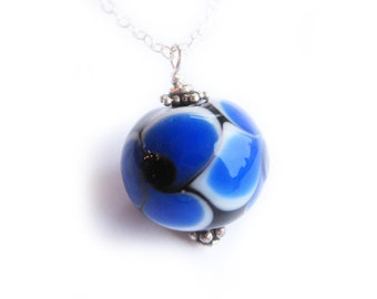 Blue Glass Necklace, Sterling silver, Pendant Necklace, Blue, Black and White