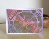Clock Card, Notecard, Green, Red, Purple