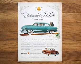 Vintage DeSoto Car Ad / Television Ad Life Magazine June 23, 1952
