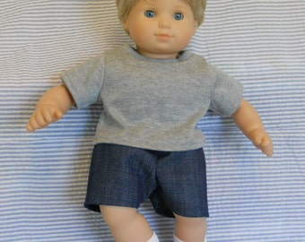 15 inch Doll Clothes American Girl Bitty Twin Boy - T-shirt and shorts